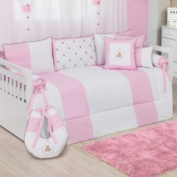 Kit Cama Babá Teddy Rosa