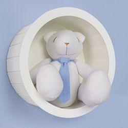 Nicho de Madeira Redondo Branco com Urso de Gravata Azul 30cm