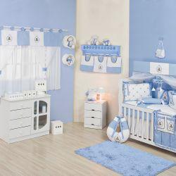 Quarto de Bebê sem Cama Babá Teddy Azul