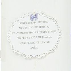 Porta Maternidade Oração Santo Anjo Flor Lilás
