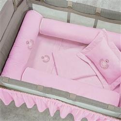 Kit Protetores para Berço Desmontável Ursa Rosa 03 peças