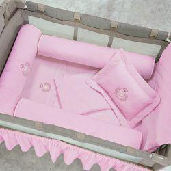 Kit Berço Completo Desmontável Ursa Rosa 1,30m x 80cm