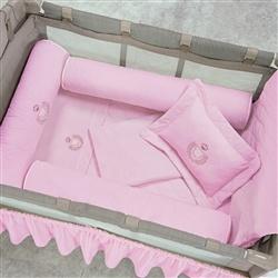 Kit Berço Completo Desmontável Ursa Rosa 1,16m x 80cm