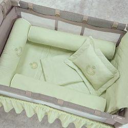 Kit Berço Completo Desmontável Urso Verde 1,30m x 80cm