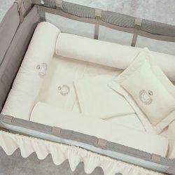 Kit Protetores para Berço Desmontável Urso Palha 03 peças