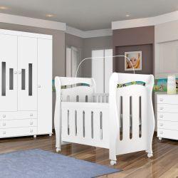 Quarto de Bebê Dominó com Berço/Cômoda/Guarda-Roupa de 4 portas