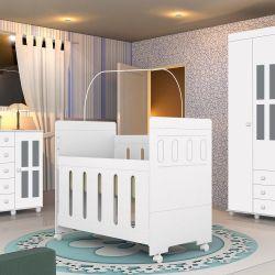 Quarto de Bebê Arco Íris com Berço/Cômoda/Guarda-Roupa de 4 portas