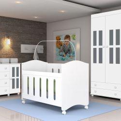 Quarto de Bebê Arco Íris com Berço/Cômoda/Guarda-Roupa de 3 portas