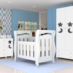 Quarto de Bebê Céu com Berço/Cômoda/Guarda-Roupa de 3 portas