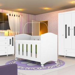 Quarto de Bebê Ternura com Berço/Cômoda/Guarda-Roupa de 4 portas