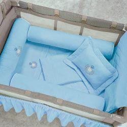 Kit Berço Completo Desmontável Urso Azul 1,30m x 80cm