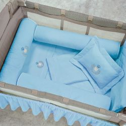 Kit Berço Completo Desmontável Urso Azul 1,16m x 80cm