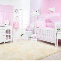 Quarto para Bebê sem Cama Babá Ponto Ajour Filó Rosa