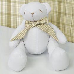 Urso Gravata Xadrez Cáqui 34cm