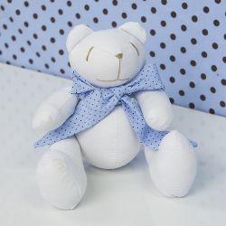 Urso Gravata Azul Poá 25cm