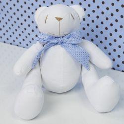 Urso Gravata Azul Poá 34cm