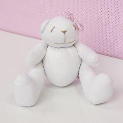 Ursa Branca com Lacinho Rosa Poá 25cm