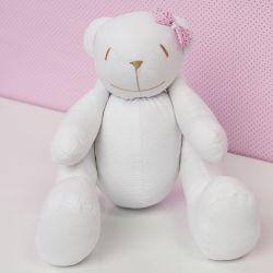 Ursa Lacinho Rosa Poá 34cm