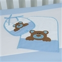 Kit Toalha e Babador Família Urso Azul