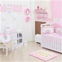 Quarto para Bebê sem Cama Babá Ursinho Luxo Rosa