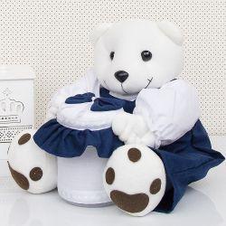 Ursinho Porta Cotonete Marinho Baby