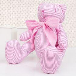 Ursa Listrada Rosa 34cm