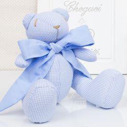 Urso Xadrez Azul 25cm