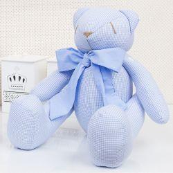Urso Xadrez Azul 34cm