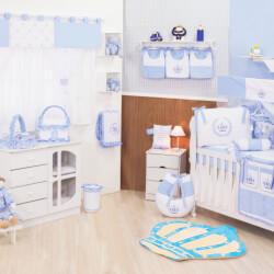 Quarto de Bebê sem Cama Babá Realeza Azul