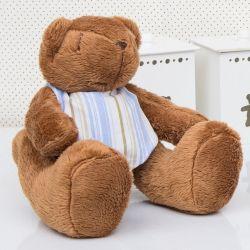 Urso Bandana Listrada Azul 25cm