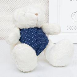 Urso Bandana Poá Azul 25cm