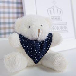 Urso Mini Bandana Poá Marinho 13cm
