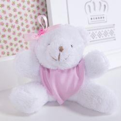 Urso Mini Bandana Rosa 13cm