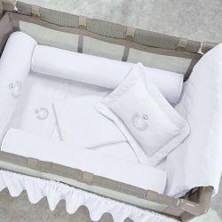 Kit Protetores para Berço Desmontável Urso Branco 03 peças
