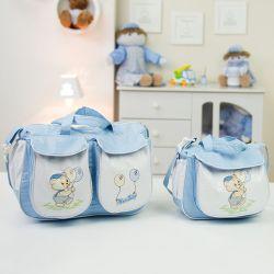 Conjunto de Bolsas Maternidade Ursinho Balão Azul