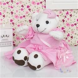 Ursa Porta Chupeta Rosa