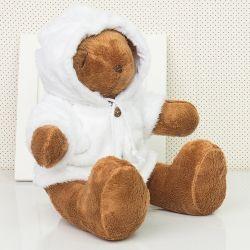 Urso Com Capuz Branco 34cm