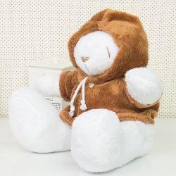 Urso Com Capuz Marrom 34cm