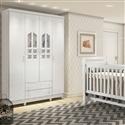Quarto para Bebê Selena com Berço/Cômoda/Guarda Roupas de 4 Portas