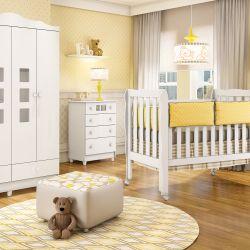 Quarto de Bebê Lila com Berço/Cômoda/Guarda-Roupa de 4 Portas