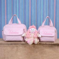 Conjunto de Bolsas Maternidade Nome Personalizado Rosa