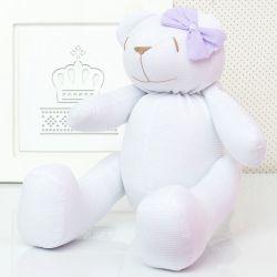 Urso Branco com Lacinho Lilás 34cm