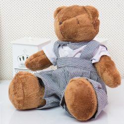 Urso Jardineira Cinza Listrada 34cm