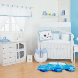 Quarto de Bebê sem Cama Babá Foguete Azul Bebê