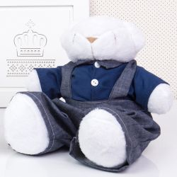 Urso Jardineiro Branco 34cm