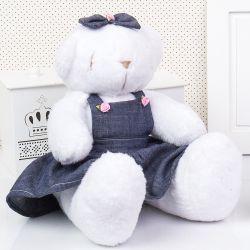 Ursa Jardineira Branca Lacinho 34cm