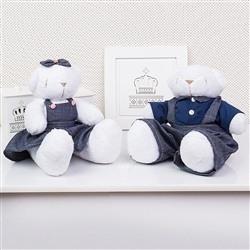 Casal Ursos Jardineiros Branco M