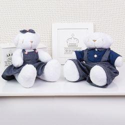 Casal Ursos Jardineiros Branco 34cm