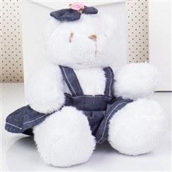 Ursa Mini Jardineira Branca Lacinho