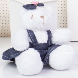 Ursa Mini Jardineira Branca Lacinho 13cm